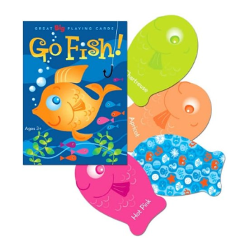 I bought this particular set of Go Fish cards because the ones I had when I was little were also fish-shaped (albeit bigger). The only complaint I have about this version is that they give the colors unnecessarily fancy names