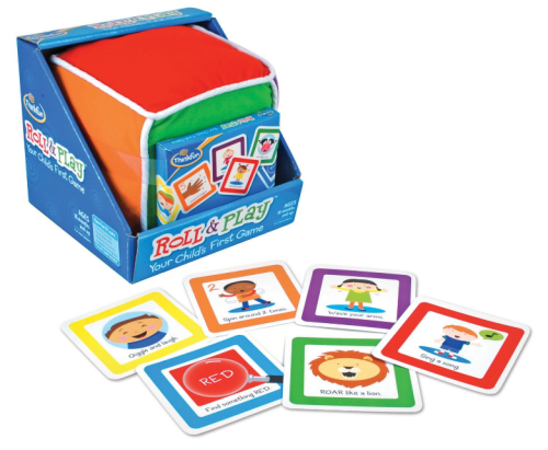A good game for the very young set. You roll the die, chose a card from the matching stack and do what the card says. Each color covers a different topic - emotion, counting, colors, body parts, actions, and animal sounds. There aren't a lot of cards for each color, so you'll most likely cycle through them more than once.