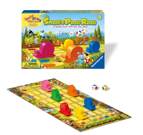 Both my husband and I found this game boring, but my girls liked it. The role of the dice determine which snails move. There is no competition between players.